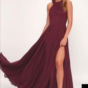 Lulu's Burgundy Lace Maxi Dress